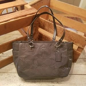Gray Patent Leather Embossed Coach Purse
